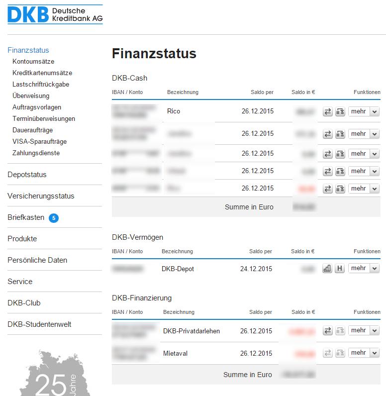 Übersicht DKB Onlinebanking Oberfläche