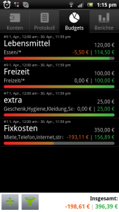 Haushaltsbuch Financisto (Monatsbudget)
