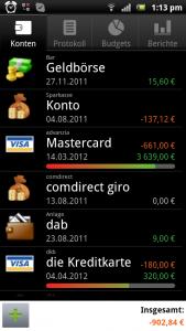 Haushaltsbuch mit Financisto (Startbildschirm)