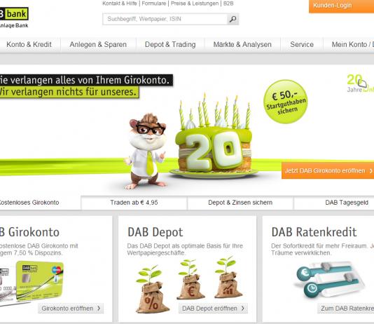 DAB Bank Website