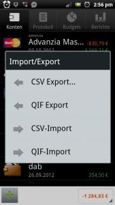 Haushaltsbuch aus Financisto exportieren