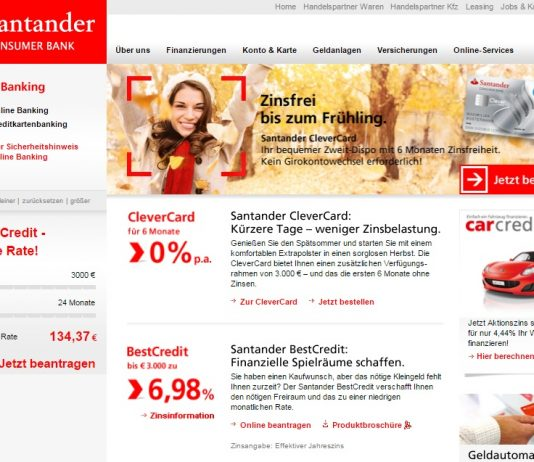 Santander Consumer Bank Website