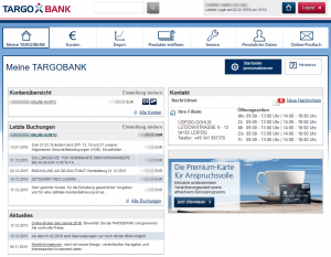 Targobank Onlinebanking Startseite